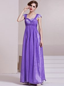 Lavender Chiffon Side Zipper Square Cap Sleeves Ankle Length Pageant Dress Wholesale Sequins and Ruching