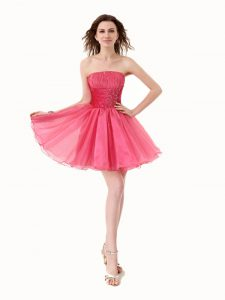 Organza Strapless Sleeveless Lace Up Beading Pageant Dress in Hot Pink