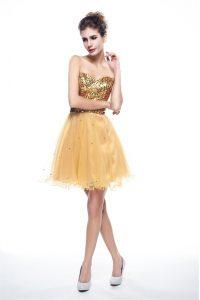 Lovely Sequins Mini Length Gold Winning Pageant Gowns Sweetheart Sleeveless Side Zipper