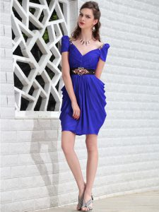Royal Blue Zipper V-neck Beading Pageant Gowns Chiffon Sleeveless