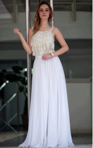 Dazzling White Pageant Dress for Girls Prom and Party with Beading Straps Sleeveless Zipper