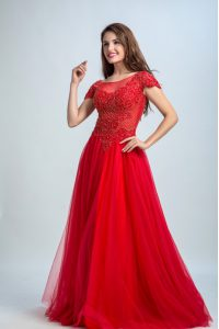 High Class Tulle Cap Sleeves Floor Length Pageant Dress for Girls and Lace