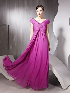 Cap Sleeves Zipper Floor Length Beading and Ruching Pageant Dress Womens