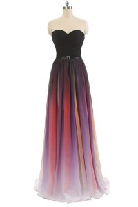 Multi-color Chiffon Lace Up Pageant Gowns Sleeveless Floor Length Belt