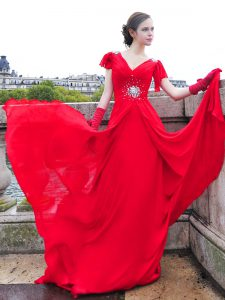 Red Chiffon Lace Up V-neck Cap Sleeves With Train Pageant Dress Womens Brush Train Beading and Ruching