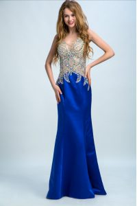 Royal Blue V-neck Neckline Beading Pageant Dress Wholesale Sleeveless Backless