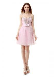 Excellent Baby Pink Tulle Zipper V-neck Sleeveless Knee Length Pageant Dress for Womens Beading