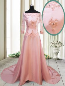 Square With Train A-line Long Sleeves Peach Pageant Gowns Brush Train Zipper