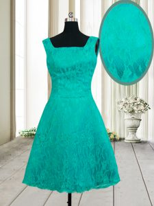 Elegant Lace Mini Length Turquoise Winning Pageant Gowns Square Sleeveless Zipper