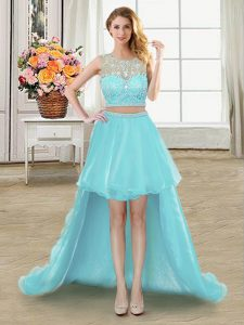 Adorable Scoop Sleeveless Tulle Pageant Dresses Beading Zipper