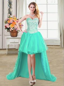 Colorful Turquoise Organza Lace Up Sweetheart Sleeveless High Low Pageant Dress for Womens Beading and Ruffles and Pick Ups