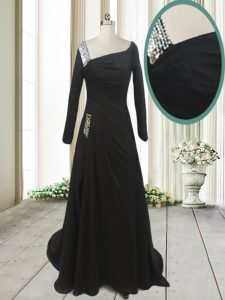 Top Selling With Train Black Glitz Pageant Dress Asymmetric Long Sleeves Sweep Train Side Zipper