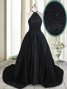 Free and Easy Halter Top Sleeveless Satin Pageant Dress for Teens Beading and Lace Brush Train Lace Up