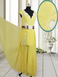 Charming Yellow Chiffon Zipper V-neck Cap Sleeves Floor Length Pageant Dress for Womens Beading and Belt