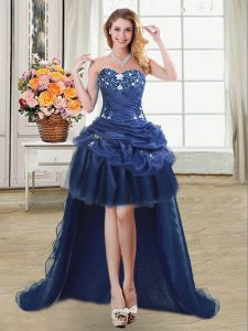Dazzling Navy Blue Sweetheart Lace Up Beading and Appliques and Pick Ups Pageant Dress for Girls Sleeveless