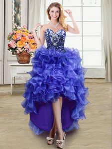Enchanting Ruffles Pageant Dress Womens Blue Lace Up Sleeveless High Low
