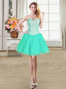 Stylish Beading and Ruffles and Pick Ups Pageant Gowns Turquoise Lace Up Sleeveless Mini Length