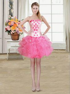 Fabulous Rose Pink Organza Lace Up Pageant Dress Toddler Sleeveless Mini Length Beading and Appliques and Ruffles