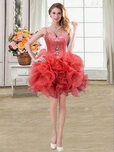 Coral Red Ball Gowns Straps Sleeveless Organza Mini Length Lace Up Beading and Ruffles Pageant Dress for Girls