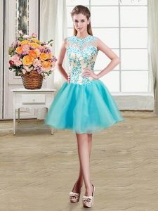 High End Scoop See Through Sleeveless Zipper Mini Length Beading Pageant Dress for Teens