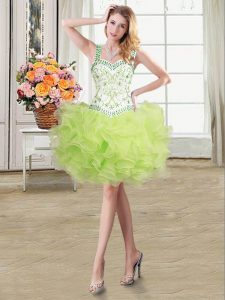 Pretty Straps Floor Length Lace Up Pageant Dress for Girls Yellow Green for Military Ball and Sweet 16 and Quinceanera with Beading and Ruffles