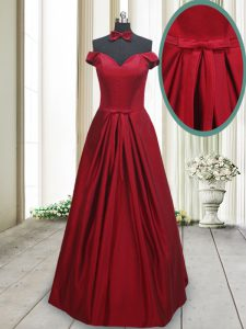 Modern Wine Red Off The Shoulder Lace Up Ruching and Bowknot Glitz Pageant Dress Sleeveless