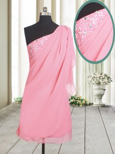 One Shoulder Side Zipper Glitz Pageant Dress Rose Pink for Prom and Party with Beading