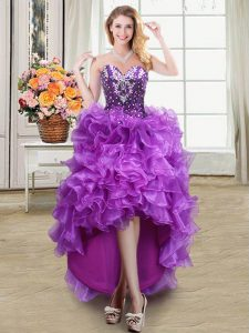 Fantastic Eggplant Purple Lace Up Glitz Pageant Dress Beading and Ruffles Sleeveless High Low