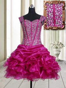Sumptuous Straps Sleeveless Lace Up Mini Length Beading and Ruffles Pageant Dress for Teens