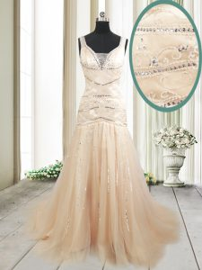 Comfortable Mermaid Straps Sleeveless Glitz Pageant Dress With Train Sweep Train Ruching Champagne Tulle
