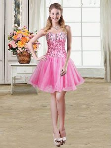 Sequins Mini Length Rose Pink Pageant Dresses Sweetheart Sleeveless Lace Up