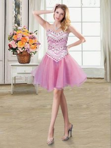 Sleeveless Lace Up Mini Length Beading Custom Made Pageant Dress