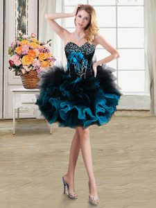 Flare Organza and Tulle Sleeveless Mini Length Pageant Dress Womens and Beading and Ruffles and Hand Made Flower