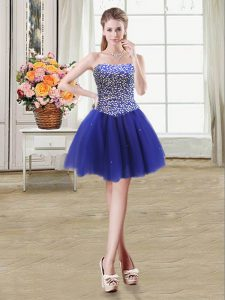 Affordable Royal Blue Sleeveless Beading Mini Length Evening Gowns