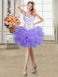 Straps Mini Length Ball Gowns Sleeveless Lavender Pageant Dress for Teens Lace Up