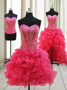 Simple Hot Pink Sleeveless Organza Lace Up Pageant Dress for Womens for Prom