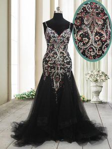 Mermaid Black Sleeveless With Train Beading and Appliques Zipper Winning Pageant Gowns