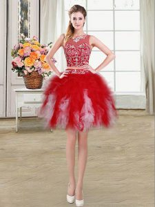 Fancy Scoop Red Tulle Zipper Pageant Dress Womens Sleeveless Mini Length Beading and Ruffles