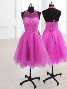 Discount Fuchsia A-line Organza High-neck Sleeveless Sequins Knee Length Lace Up Pageant Dress for Girls