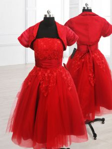 Sophisticated Red Organza Lace Up Pageant Dress for Teens Short Sleeves Knee Length Embroidery