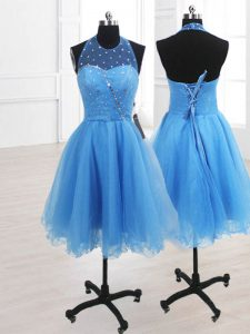 Stylish Baby Blue Sleeveless Sequins Knee Length High School Pageant Dress