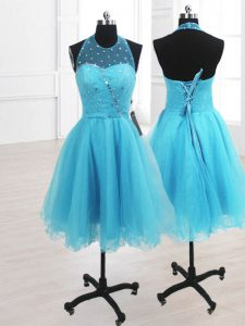 Luxury High-neck Sleeveless Organza High School Pageant Dress Ruffles Lace Up