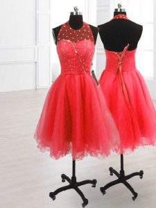 Sophisticated Sleeveless Organza Knee Length Lace Up Pageant Dress for Teens in Watermelon Red with Sequins