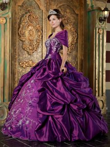 Elegant Purple Ball Gown Taffeta Strapless Pageant Dress for Miss America