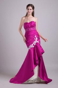 2014 Exquisite Fuchsia Mermaid Brush Train Pageant Dresses for Miss World