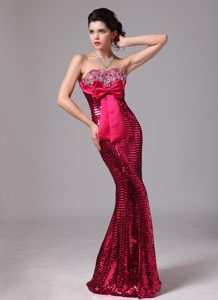 Hot Pink Bowknot Sweetheart Mermaid Pageant Dress with Sequins on Sale