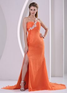 Orange Red One Shoulder High Slit Cute Dress for Pageants with Court Train