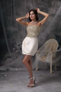 Champagne Column Pretty Strapless Ruched Interview Pageant Suits in Satin