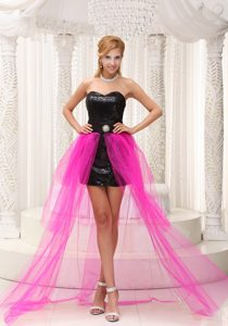 Cute Hot Pink High Low Column Pageant Dress for Miss USA with Beading
