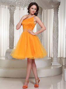 One Shoulder Beaded Organza Inexpensive Beauty Pageant Dress in Orange
